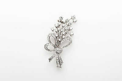 Antique 1950s $7000 3ct VS G Diamond Platinum Brooch Pin HEAVY
