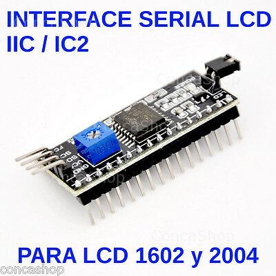 ADAPTADOR I2C IIC SPI LCD LCD1602 LCD2004 SERIAL DISPLAY  TWI 2 hilos 1602 2004