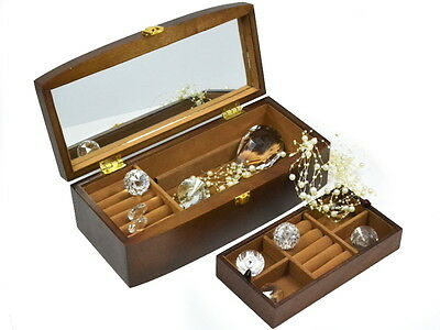 Brown Wooden Jewellery Box Case/Cabinet/Trinket With Mirror