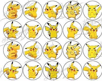 25 POKEMON GO Pikachu Edible Wafer Card Cupcake Cookie Fairy Toppers Decoration