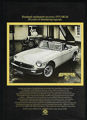 1975 MG MGB Sports Car Golden Anniversary Vintage Photo Print Ad