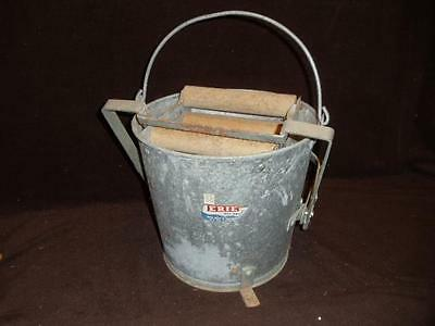 Vintage Erie Galvanized Mop Bucket  Automatic Wringer with Foot Pedal