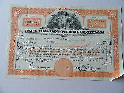 Packard Motor Car Automoblie Stock Certificate 15 Shares 1954