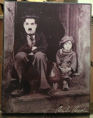 Charlie Chaplin Picture Laminated On Wood  New Sealed