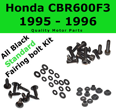 Black Fairing Bolt Kit body screws fasteners for Honda CBR 600 F3 1995 - 1996