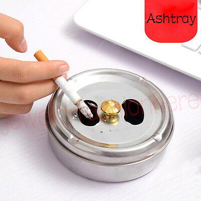 Stainless Cigarette Spinning Lidded Ashtray Silver Portable Windproof Ashtray HG