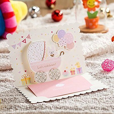 Wishmade 50X 3D Laser Cut Baby Shower Invitations Cards Baby Girl Birthday Cards