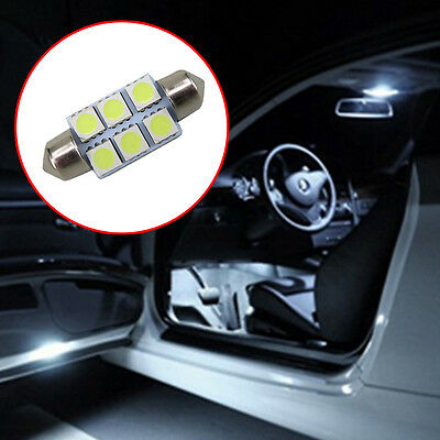 10x CAR 12V LED 36MM FESTOON INTERIOR WHITE LIGHT BULB 5050 6SMD AUTO DOME GLOBE