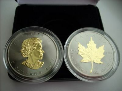 2017 Canadian Maple Leaf BLACKOUT 1 oz .999 silver coin Ruthenium & 24K Gold HOT