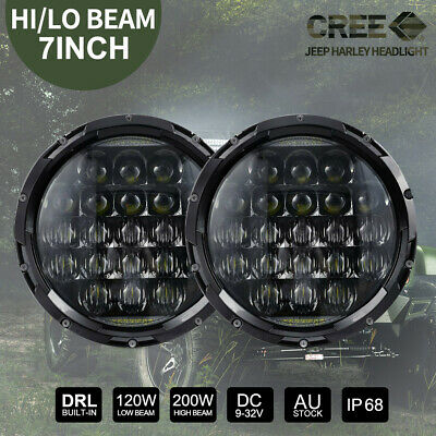 Pair 7 inch CREE LED Headlights High Low Hi Lo For Harley Jeep Wrangler JK 07-16