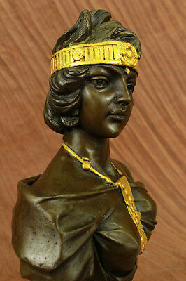 Handcrafted MAIDEN BUST BY FRENCH ARTISIAN BRONZE SCULPTURE ART DECO NOUVEAU