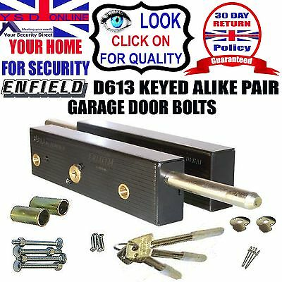 GARAGE DOOR BOLTS LOCK Security Enfield D613  One Pair Keyed Alike With 3 Keys