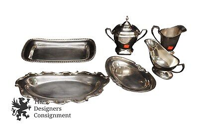Assorted Lot of Silver Plate Repousse Tray Cream Sugar Reed Barton Poole Vintage