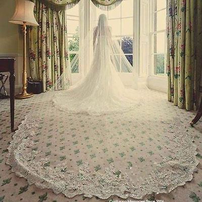 New 1 Tier Tulle&lace 3M Long Cathedral Length Bridal Wedding Veil With Comb