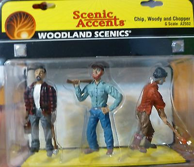 Woodland Scenics #2552 Figures -- Chip, Woody, & Chopper (G Scale)