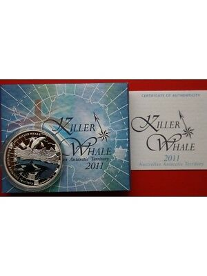 2011 Australia Killer Whale 1oz Silver Proof Dollar Coloured Coin Boxed Coa
