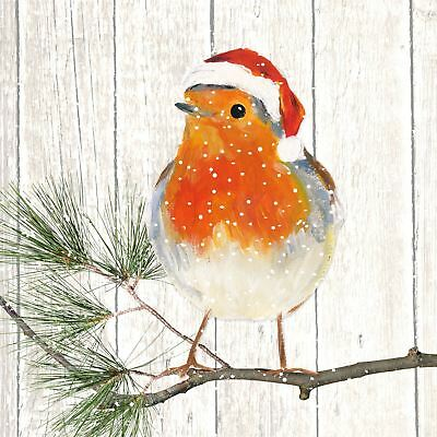 "CHRISTMAS ROBIN BRANCH ORANGE 3-PLY 20 PAPER NAPKINS SERVIETTES 13""x13""–33X33CM"