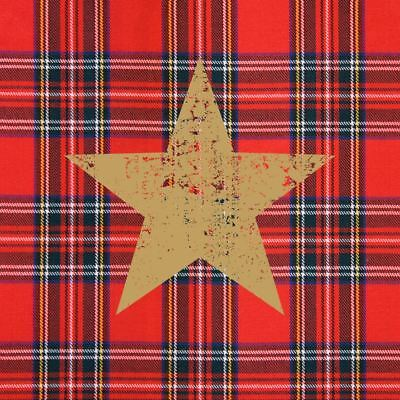 "CHRISTMAS STAR TARTAN GOLD RED 3-PLY 20 PAPER NAPKINS SERVIETTES13""x13""–33X33CM"
