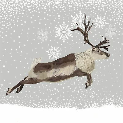 "WINTER LEAPING REINDEER BROWN 3-PLY 20 PAPER NAPKINS SERVIETTES 13""x13""–33X33CM"