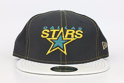 finest selection 532d9 c24bc Dallas Stars Black   White Lid   Yellow Green NHL New Era 59Fifty Fitted  Hat Cap