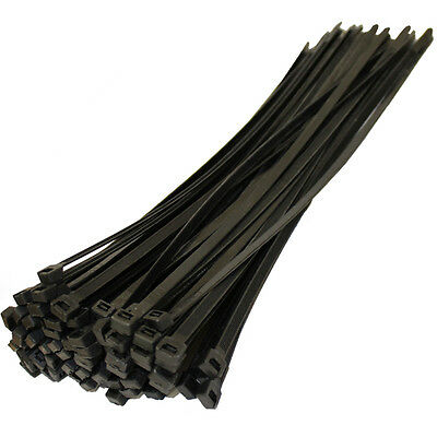 """100 pc Cable Zip Ties Wire Straps 600mm 24"""" BLACK 175 lbs Heavy Duty Duct Straps"""