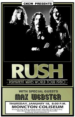 Rush 1980  CONCERT POSTER with Max Webster  Moncton