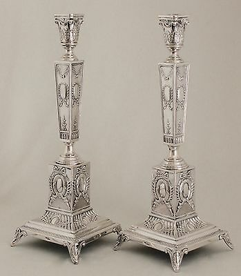 Pair Antique W SZKARLAT POLISH NEOCLASSICAL CANDLESTICKS .800 SILVER After 1920