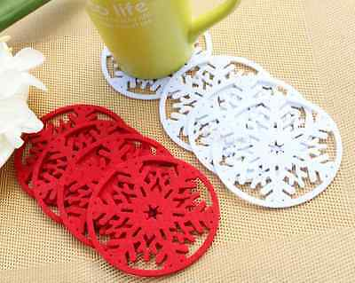 5pcs Xmas Snowflake Drink Coaster Tea Coffee Cup Pads Table Decor Tableware Mat