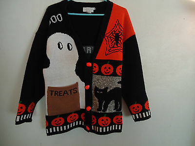 Halloween Vintage Happy Womens Ugly Sweater Ghost Spider Pumpkins Size M