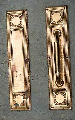 "Bronze Door Pull Large Inside Outside Single Door Heavy Handle 18"" Edwardian"