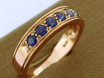 R077 Genuine 9K Rose Gold NATURAL Sapphire ETERNITY Band 7 stone Ring size M