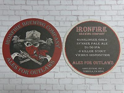 Beer Coaster ~ IRONFIRE Brewing Co ~ Ales for Outlaws ~ Temecula, CALIFORNIA