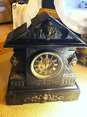 French Clock Centre Piece Antique 19 inches Tall Bronze Heads Incredible