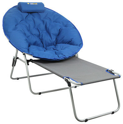 OZTRAIL JUPITER MOON CHAIR with FOOTREST CAMP OUTDOOR SEAT PORTABLE