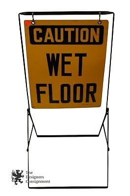 Vtg Indistrial Caution Wet Floor Sign by Ready Made Sign Co Steam Punk Mid Cent