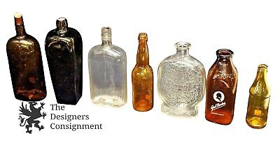Stunning Lot of Antique Amber and Clear Glass Bottles Medicine Milk Liquor 12""