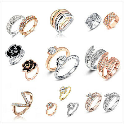 New & Fashion Various Women Rings White/Rose Gold Plated Crystal Jewelry Wedding