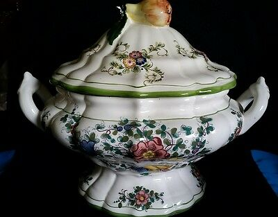 Gorgeous  Capodimonte Soup Tureen With Lid &  Pear Final Large Signed Hand Paint