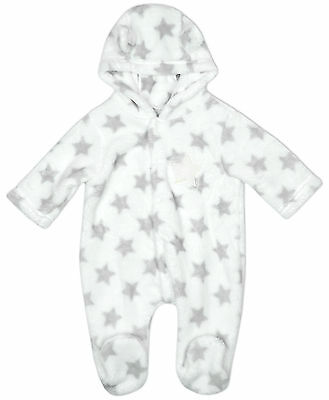 Boys Baby Star Print Hooded Fleece Pramsuit with Ears Newborn to 6 Months