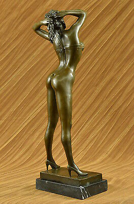HandcraftedSigned High Quality Art Deco Bronze Nude Girl Marble Plinth Statue