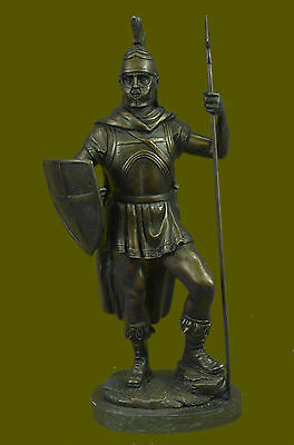 Handcrafted Bronze Figure Marble - Greek/Roman Soldier Spear & Shield - Signed