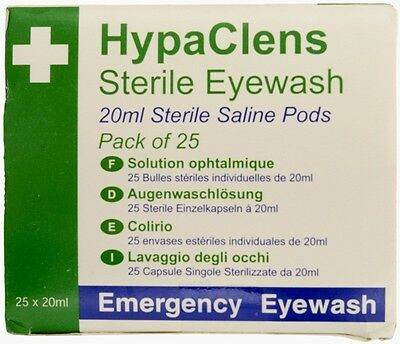 HypaClens Sterile Eyewash Pods - 25 x 20ml Safety First Aid E401A New