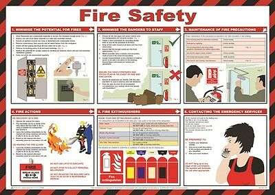 Fire Safety Poster 59cm x 42cm Safety First Aid A616T New