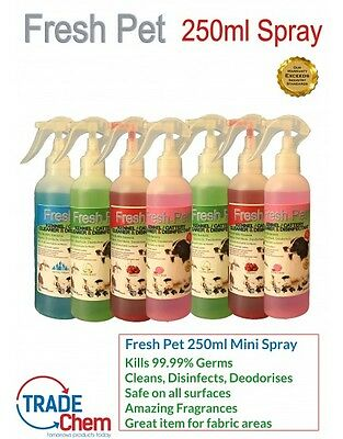 FRESH PET 250ML MINI SPRAY - 2 in 1 Kennel/Cattery Disinfectant and Deodoriser