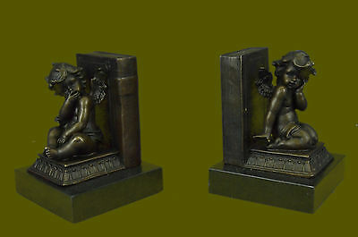 Handcrafted Very Cute Thinking Cherub Angels Bookends Book End Bronze Figurine