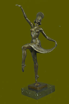 Handcrafted Signed Decor Russian Dancer Bronze Sculpture Marble Base Statue Art