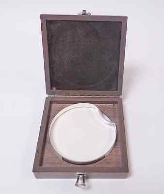 "VAN KEUREN 4550 4"" CIRCULAR OPTICAL FLAT w/ PIECE MISSING, IN WOODEN CASE!"