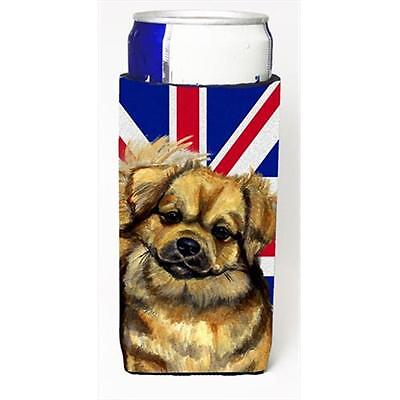 Tibetan Spaniel With English Union Jack British Flag Michelob Ultra bottle sl...