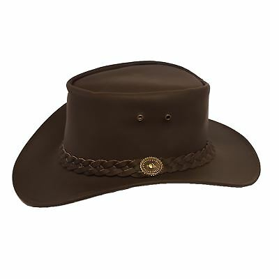 Leather Cowboy Western Aussie Style Bush Hat Brown Waterproof Cow Leather