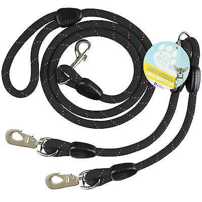 Me & My Black Rope Twin/2 Way Double Dog Lead & Splitter/coupler/extender Two
